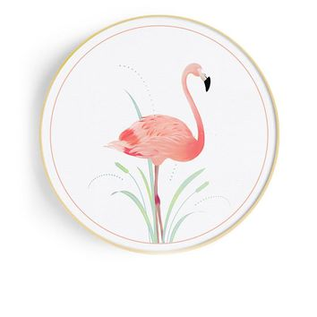 Flamingos Circle 27.5'' Mural Painting