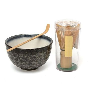VONESC6 Hot Sale 3pcs sets Bamboo Matcha Tea Ceremony Gift Set with Ceramic Tea Bowl Scoop Powder Whisk Chasen Japanese Teaware Present