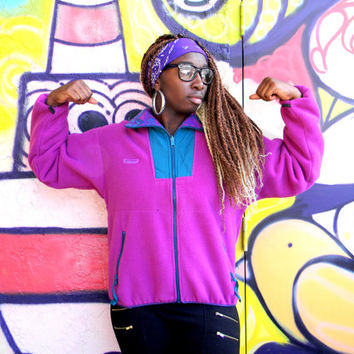 Vintage Fleece Windbreaker Jacket, 80s 90s COLUMBIA Brand Outdoor Zip Up Bomber in Magenta Purple Teal w Aztec Print Collar, Womens Large L