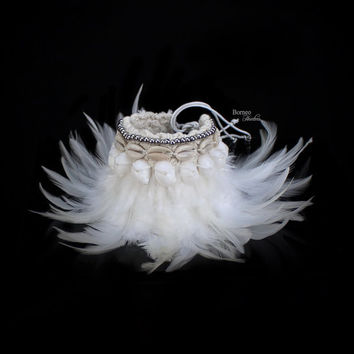 Feather Accessory;Arm Piece/Bracelet/Anklet Natural Real Feather Accented With Seashell&Bead Boho Bohemia Dance Costume Burlesque Drape