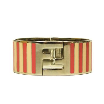 Fendi Silver Enamel Cuff with Pink Pequin Stripes Clic Clac Bracelet 8AG137