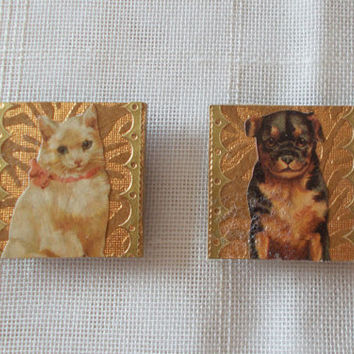 Dog and Cat Lover Magnet Set of 2 - Gold Paper Collage