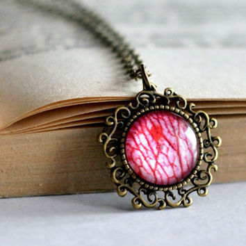 Rose Petal Detail Filigree Necklace, Pink Glass Dome Resin Pendant
