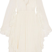 Chloé - EXCLUSIVE Ruffled crocheted lace-paneled silk-crepon mini dress