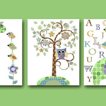Giraffe Nursery Elephant Nursery Baby Boy Nursery decor Children Art Print Baby Nursery Print set of 3 alphabet nursery alphabet green