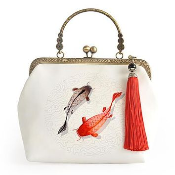 Handmade Hasp Fish Tassel White Chains Chinese Style Cheongsam Bag Cross-Body Bags Mouth Gold Cell Phone Pocket Handbag Bag Tote