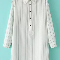 White Striped Buttons Shirt Collar Long Sleeve Shift Mini Dress