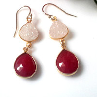 Dyed Ruby and White Druzy Dangle Earrings With Gold Filled Earwires