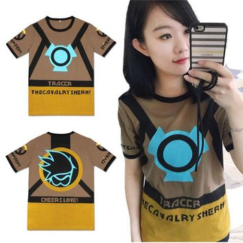Game OW Cosplay T-Shirt Lena Oxton Tracer Short Sleeve Fashion Summer Tops Tee Shirts for Men Women