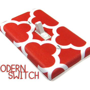 Red Quatrefoil Light Switch Cover Geometric Decor Switchplate Switch Plate Modern Home Decor 1456