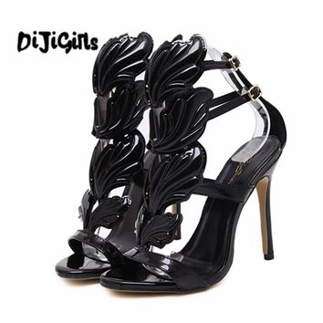 New Summer Women High Heels Gold Winged Leaves Cut-outs Stiletto be11805802be