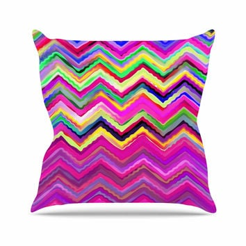 "Dawid Roc ""Colorful Chevron"" Purple Pink Outdoor Throw Pillow"