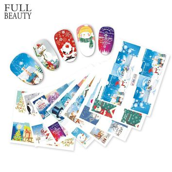 Full Beauty 1 Set Christmas Mixed Winter Full Wraps Sticker for Manicure Xmas Snowman DIY Styles Nail Art Decals CHBN217-228
