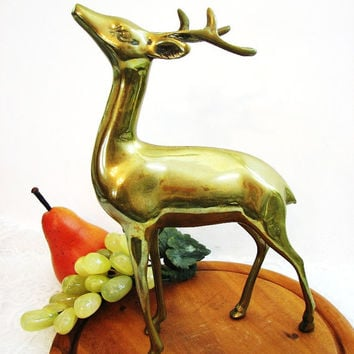 "Large Brass Deer Statue, Vintage 10"" Standing Brass Buck Figurine / Statue, Woodland Fall Mantle, Holiday Golden Brass Decor, Lodge Decor"
