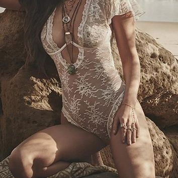 White Plunge Women Lace Bodysuit