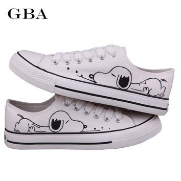 Women Shoes Summer Hand-Painted Canvas Shoes Doodle Splash-Ink Dot Lacing Low Women's Flat Tenis Feminino Loafers Zapatos Mujer