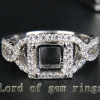 Diamond Engagement Semi Mount Ring 14K White Gold Setting Princess 5.5mm