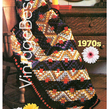 Boho Afghan 1970s Vintage Crochet Pattern PDF Instant Download Fashion as a Log Cabin Quilt