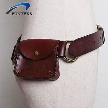FUNTEKS First Layer Genuine Leather Belts for Women Leather Women's Belt with a Purse female Strap Ceinture Female Belts
