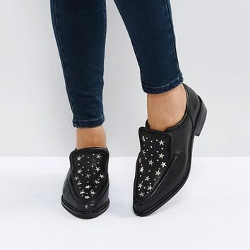 Sol Sana Nancy Black Star Studded Leather Flat Shoes at asos.com