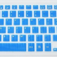 Folox® Colored Silicone Laptop Keyboard Protector Cover for Acer Aspire M3-581T M3-581PTG M5-581G M5-581T V5-551G V5-531P (Blue)
