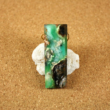 Chrysoprase Rectangle Faceted Pendant - Green and Brown Smooth Top Drilled Thick Focal Bead