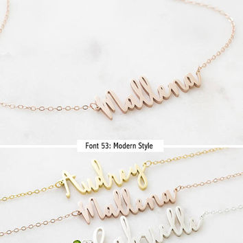 Personalized Name Necklace • Dainty Custom Name Necklace • Children Name Charm • Bridesmaids Jewelry • New Mom Gift • NH02F18