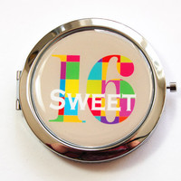 Sweet Sixteen, Sweet 16, purse mirror, compact mirror, 16th birthday, birthday gift, 16 compact mirror, birthday party favor (3156)