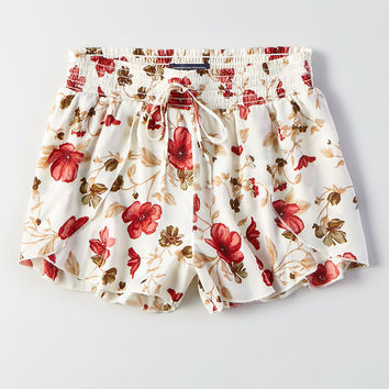 AEO Silky Petal-Front Soft Shorts, Cream