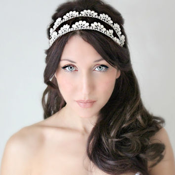 Bridal Tiara, wedding Headband, Crown, Whimsical Romance, White Pearl Rhinestone, wedding accessory, bridal headpiece - Le Neige - -