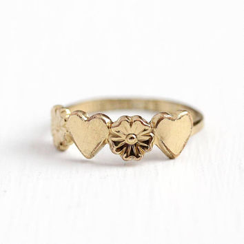 Vintage Midi Ring - 10k Gold Filled Heart Flower Band - Size 3 1/4  1940s Dainty Petite Children's Baby Flower Love Jewelry