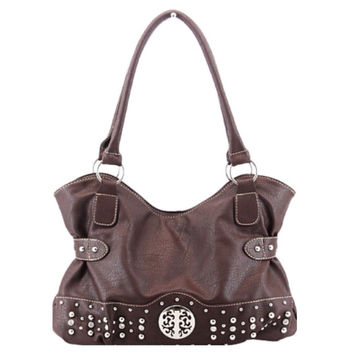 Fashionable Stud and Rhinestone Accented Shoulder Bag, Purse, Women's Accessories