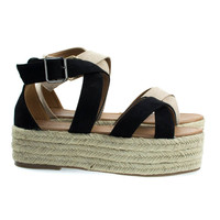Fatima1 Black by Bonnibel, Wrapped Espadrille Jute Flatform, Strappy Sandal. Women's Summer Shoes