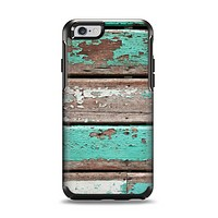 The Chipped Teal Paint On Wood Apple iPhone 6 Otterbox Symmetry Case Skin Set