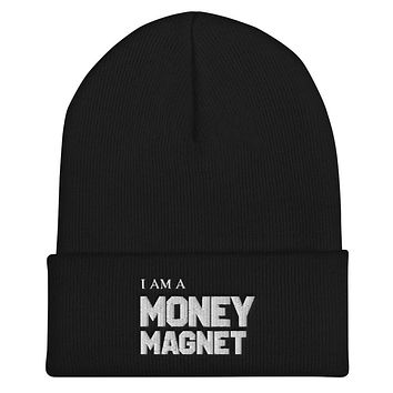 """"""" I AM A MONEY MAGNET""""   Positive Motivational & Inspiring Quote Embroidery Cuffed Beanie"""