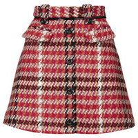 Check Vinyl Skirt - Red