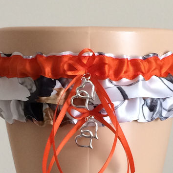 True Timber Orange Camo Wedding Garter Set, Prom Garter Set