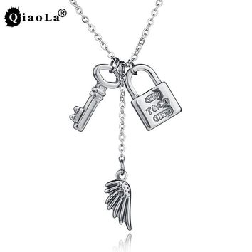 New Fashion Romantic Lovers' Necklace Silver LOCK & KEY Wing Stainless Steel Pendant Necklaces Long Neckless Women Jewelry L503