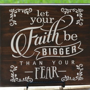 Faith Religious Wood Sign - Rustic Wood Inspiration Wall Sign - Rustic Religious Home Decor - Inspirational Sign -  Religious Wall Hanging