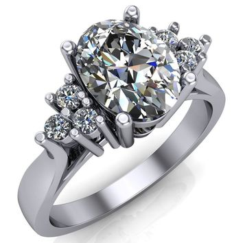 Aaliyah Oval Moissanite Multi Stone Cathedral Engagement Ring