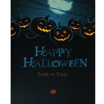 """LED Lighted Jack-O'-Lanterns Happy Halloween and Trick or Treat Canvas Wall Art 19.75"""" x 23.5"""""""