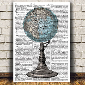 Globe poster World map print Vintage print Antique decor RTA977