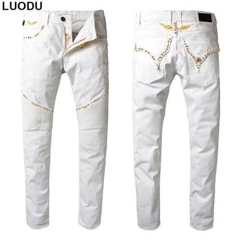 New Italy Style #842# Mens Distressed Embellished Moto Pants White Biker Jeans Slim Trousers with Key Chains Size 30-42