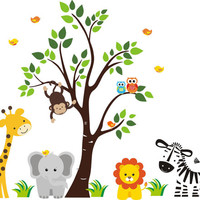 "Kids Room Wall Decals, Nursery Wall Decals, Zebra Decal, Lion Decal, Elephant Decal, Giraffe Decal, Tree Wall Decal, Owl Decal - 83"" x 97"""