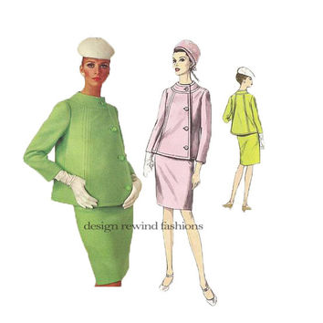 1960s Vogue Mod SUIT JACKET SKIRT Pattern Jacques Heim Designer Vogue Paris Original 1711 Bust 36 Women's Vintage Sewing Patterns Jackie O