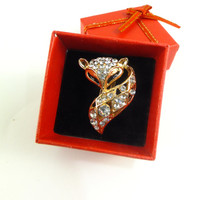 Fox Crystal Rhinestone Fox Pin Brooch Jewelry Gold Toned Gift for Her Hat Pin Scarf Jewelry Dress Jewelry Accent Special Occasion