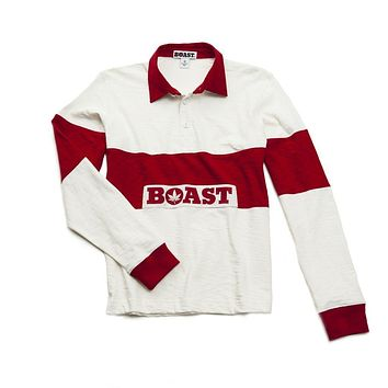 Icon Rugby in White with Red Stripes by Boast - FINAL SALE