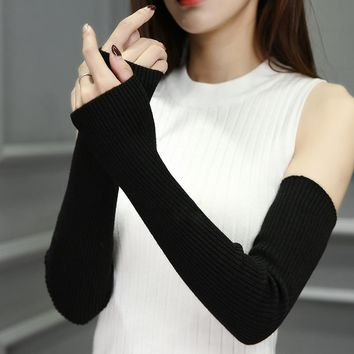 2017 New Fashion Spring Winter Women Ladies Girl Long Cashmere Blend Fingerless Gloves Arm Sleeve Warmers Mittens Arm Warmers