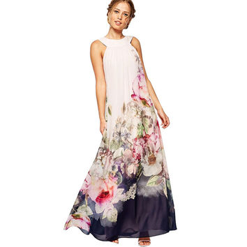 Fit and Flare Floral Sleeveless Chiffon Long Dress