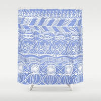 Periwinkle Shower Curtain - hand drawn pattern, blue and white